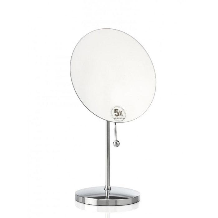 Miroir grossissant rond sur pied x5 chrome inox wadiga - Miroir grossissant sur pied ...