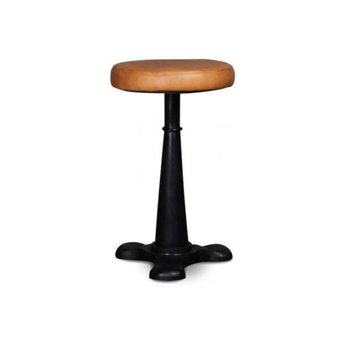 tabouret en m tal et cuir marron clair d31xh52 geheim couleur unique declikdeco la redoute. Black Bedroom Furniture Sets. Home Design Ideas