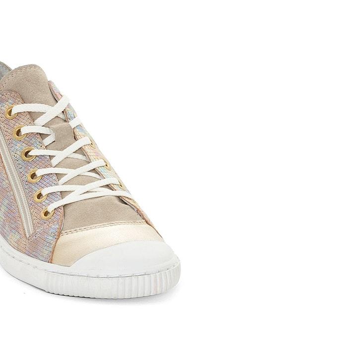 PATAUGAS - Baskets basses lacées et zippées cuir Bisk   La Redoute