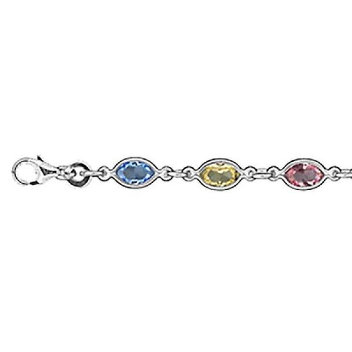Argent 925 Chaîne Zirconium Jaune Cm De Oxyde Bracelet Multicolore Bleu Rose 18 Pierres Femme PX80wknNO