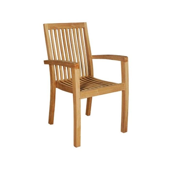 fauteuil de jardin empilable en bois de teck teck brut bois dessus bois dessous la redoute. Black Bedroom Furniture Sets. Home Design Ideas