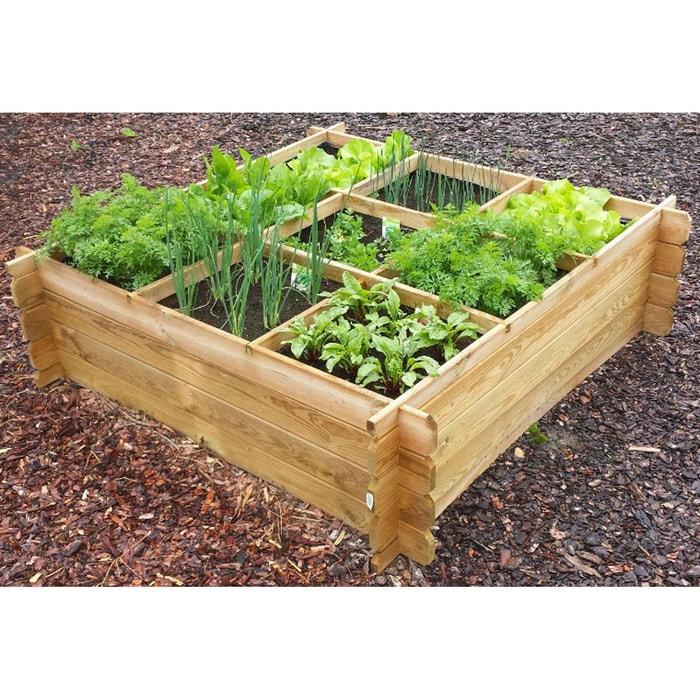 Carr potager avec croisillons et g otextile x x m bois clair habitat et jardin - Mini potager en bois ...