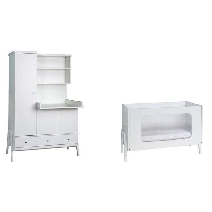 chambre duo holly blanc lit b b 60x120 armoire combin e schardt couleur unique schardt la redoute. Black Bedroom Furniture Sets. Home Design Ideas