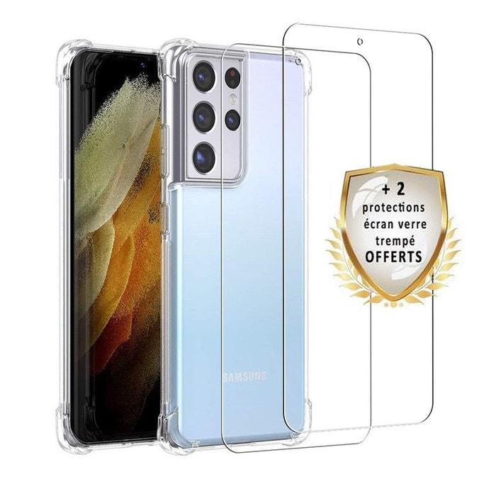 Coque Samsung Galaxy S21 Ultra 5G Antichoc Silicone 2 Vitres en verre trempé Protection écran