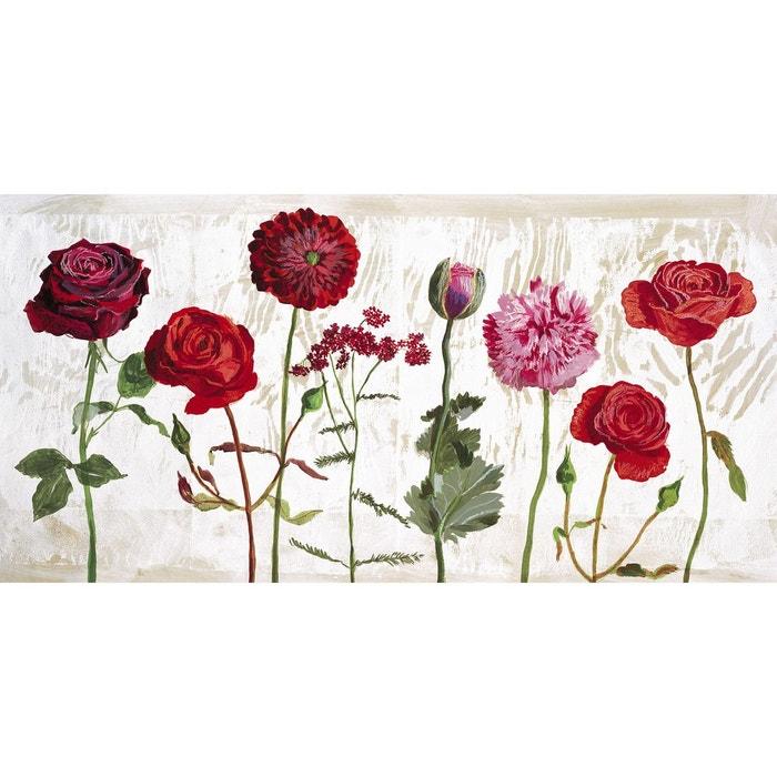 Affiche le jardin aux fleurs rouges couleur unique for Jardin aux fleurs