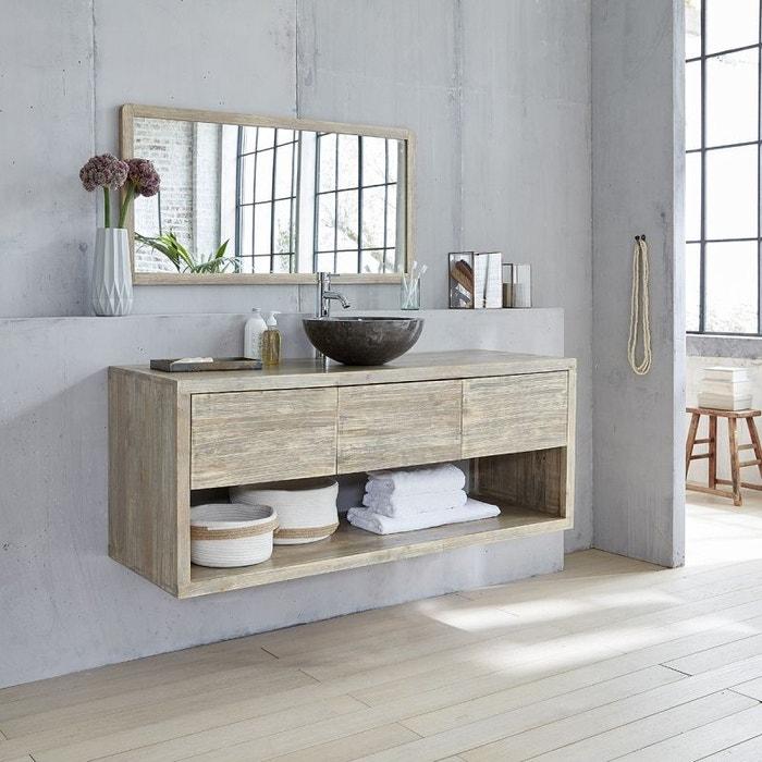 Ensemble salle de bain en bois d\'hévéa suspendu 150, vasque et miroir