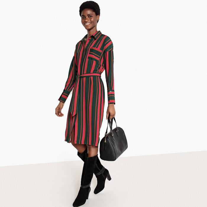 Striped Tie-Waist Midi Shirt Dress  La Redoute Collections image 0