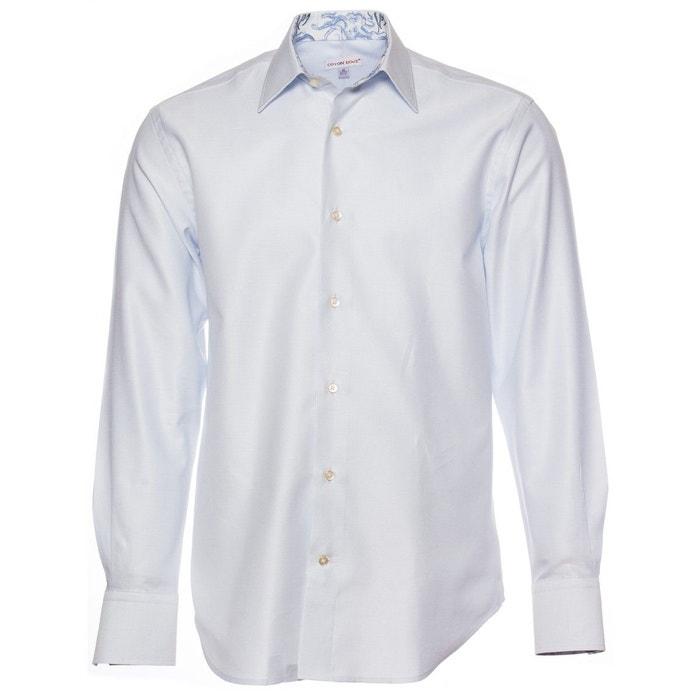 Chemise tissée blanche et bleue avec opposition pieuvres coupe ajustée bleu Coton Doux
