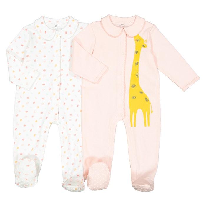 ae0a30d0e95 Lote de 2 pijamas abiertos prematuro-2 años rosa + crudo La Redoute  Collections