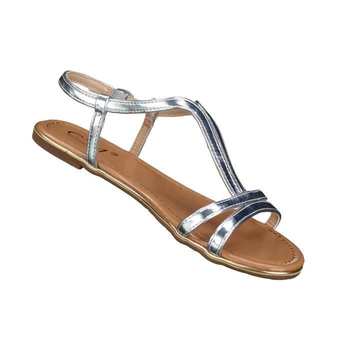 Sandales à lanières gris Leader Mode