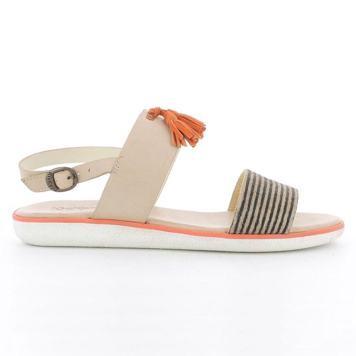 Sandales plates cuir blanc Kickers Professionnel En Ligne b1KVjBg7D