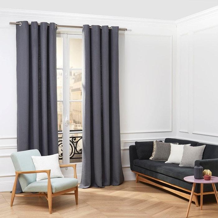 rideau oeillets lin aubin gris bleu gris bleu madura la redoute. Black Bedroom Furniture Sets. Home Design Ideas