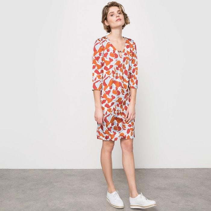 afbeelding Bedrukte jurk met 3/4 mouwen La Redoute Collections