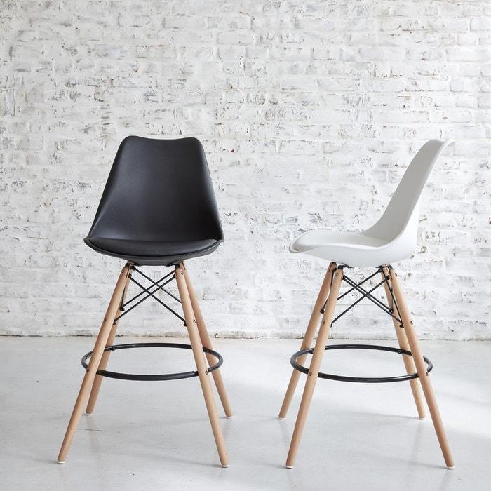 tabouret de bar design blanc avec pi tement bois px. Black Bedroom Furniture Sets. Home Design Ideas