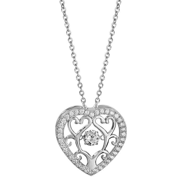 Collier longueur réglable: 42 à 45 cm pendentif coeur oxyde de zirconium blanc argent 925 couleur unique So Chic Bijoux   La Redoute Les Dates De Sortie En Ligne WfVAI5