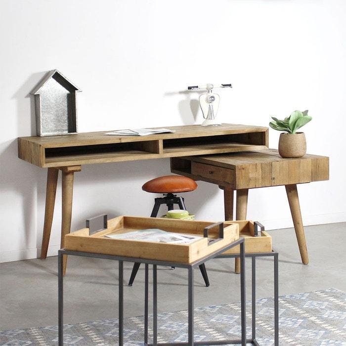 bureau scandinave pivotant 3 niches 1 tiroir lop186. Black Bedroom Furniture Sets. Home Design Ideas