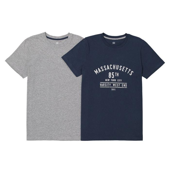 d5477e48416 T-shirt imprimé 10-16 ans (lot de 2) bleu marine gris chiné La Redoute  Collections