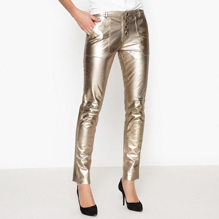 Pantalon en cuir slim coloris or YUCA BA&SH