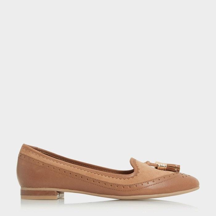 Chaussures à enfiler aspect richelieu avec deux pampilles - gambel  fauve cuir Dune London  La Redoute