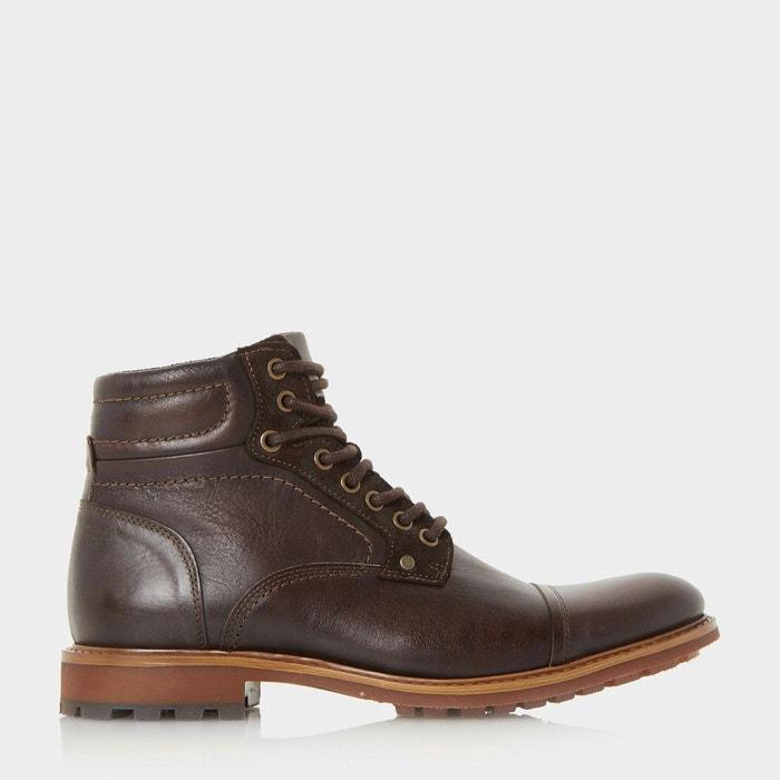 new style e0d6b a8bdb Boots à lacets et bout rapporté - clef marron foncé cuir Bertie La Redoute  GH8HUA1Z - destrainspourtous.fr