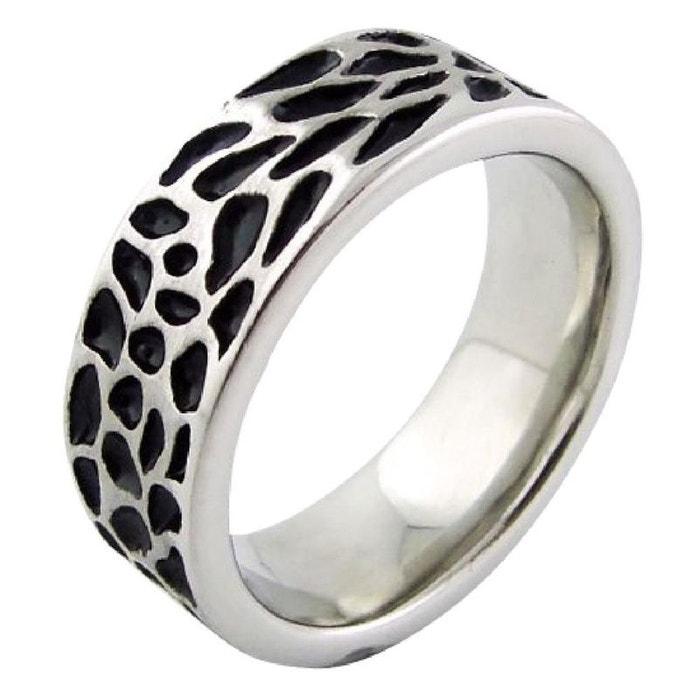 Bague anneau homme motif peau animal sauvage noir acier inoxydable couleur unique So Chic Bijoux   La Redoute Magasin D'usine f9w5rI0