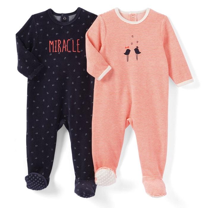 Lot de 2 pyjamas velours 0 mois - 3 ans Oeko Tex La Redoute Collections