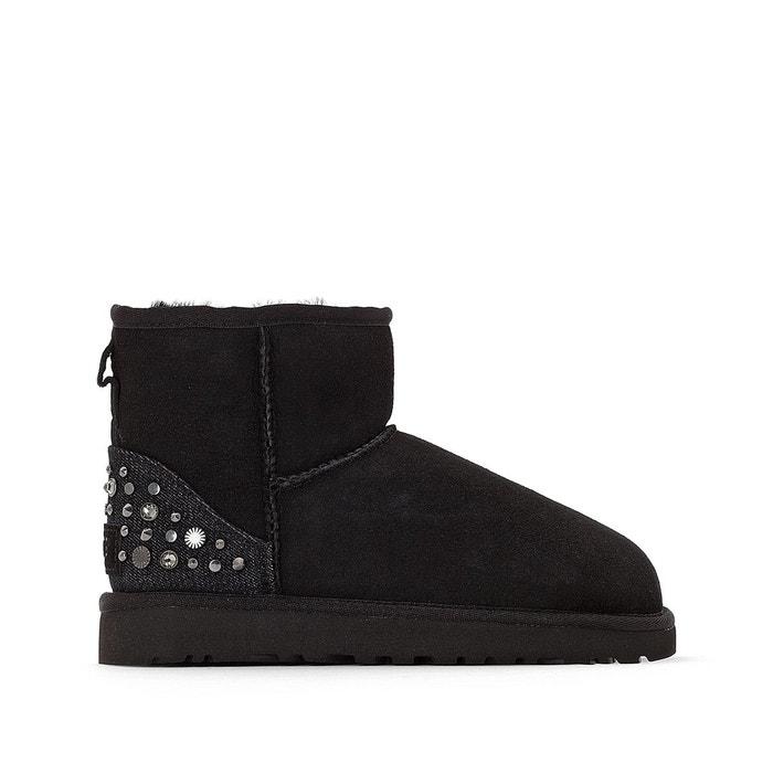 Boots cuir fourrées laine mini studded bling noir Ugg Livraison Rapide En Ligne Pas Cher ieTEAXrTFK