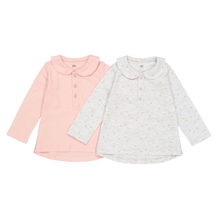 bdbf41481febd Lot de 2 t-shirts col claudine 1 mois - 3 ans rose gris La Redoute  Collections