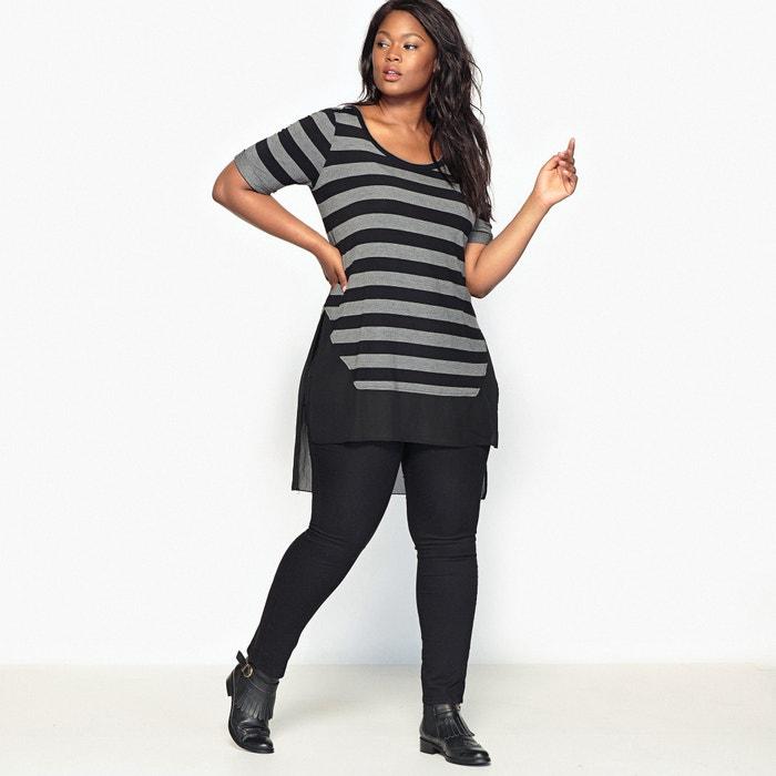 Image Dual Fabric Striped T-Shirt CASTALUNA