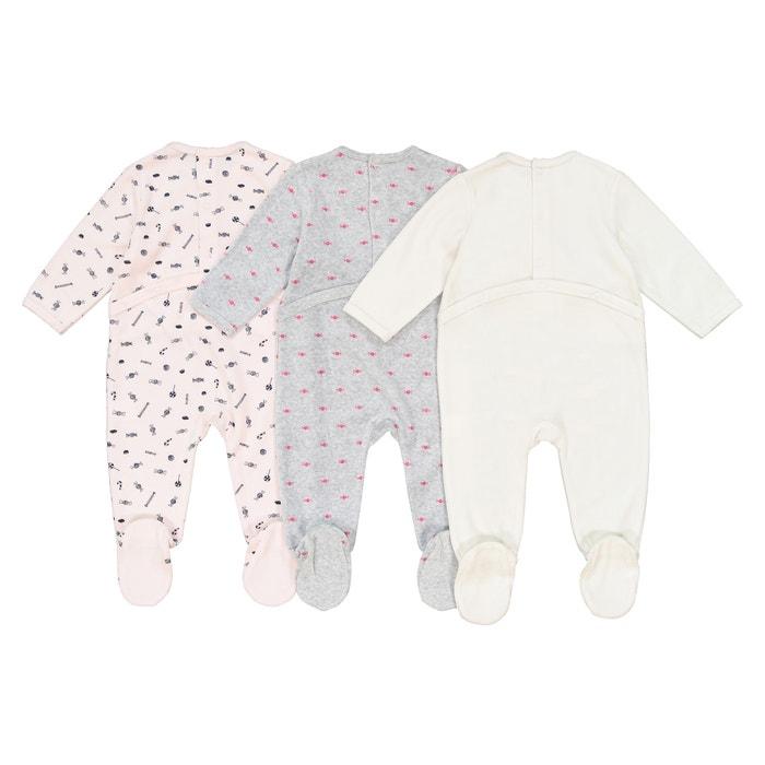 83a1d2055ac26 Lot de 3 pyjamas bonbons en velours 0 mois - 3 ans LA REDOUTE COLLECTIONS  image. Ce produit a bien été ajouté à votre liste de préférés.