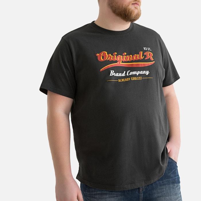 Grijs HalsGrote Bedrukt Shirt Ronde Maten Met Antraciet T pGVUqSzM