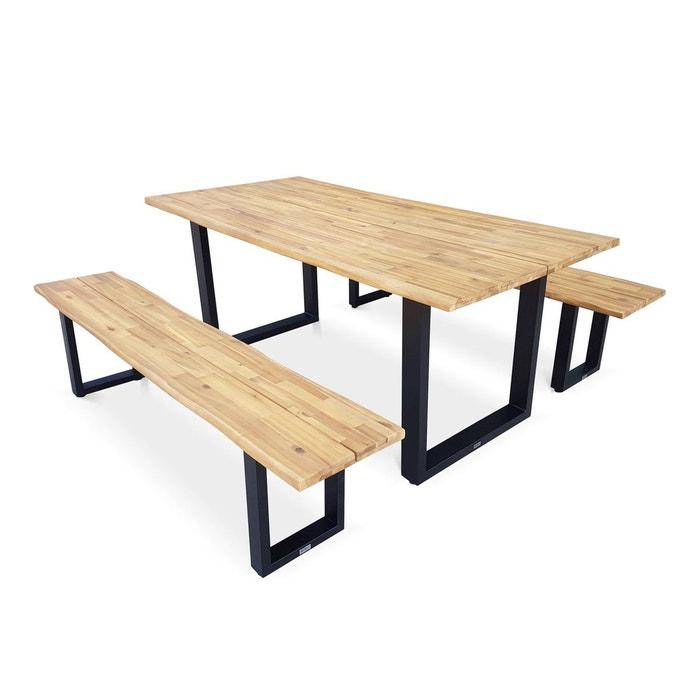 Table De Jardin En Bois 180cm Avec 2 Bancs Salta Esprit