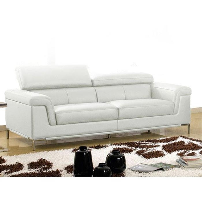 canap cuir 3 places rania blanc la maison du canape la redoute. Black Bedroom Furniture Sets. Home Design Ideas