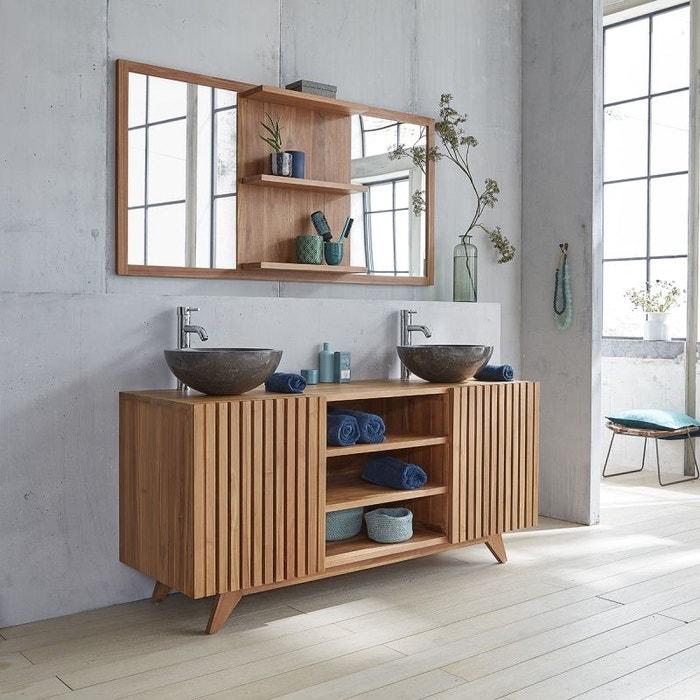 meuble de salle de bain en bois de teck 160 teck brut bois dessus bois dessous la redoute