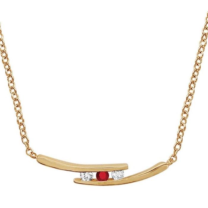 Collier femme longueur réglable: 44,5 à 48 cm branches oxyde de zirconium rouge & blanc plaqué or 750 couleur unique So Chic Bijoux | La Redoute