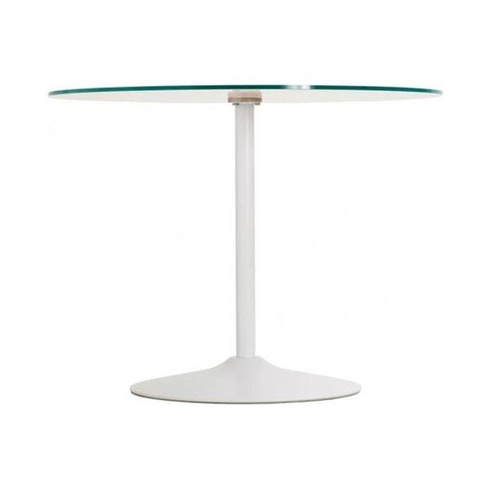 Table à manger blanche ronde design plateau en verre bloom blanc ...