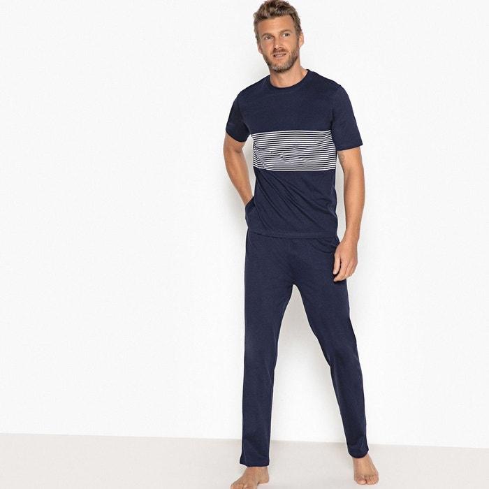 a4f42293cc686 Pyjama rayé manches courtes bleu marine La Redoute Collections | La Redoute