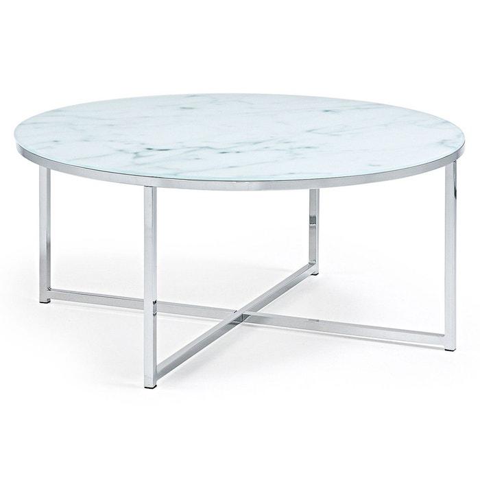Table basse divid 80cm verre effet marbre blanco azul plata kave home la redoute - Table basse effet marbre ...