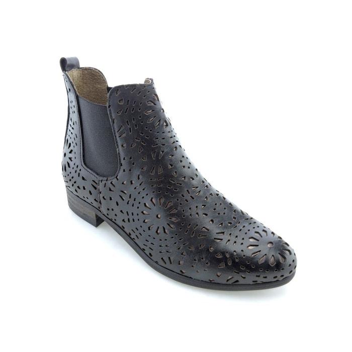 Boots cuir effet ajouré zola noir Bunker