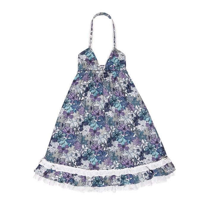 e43cb78405b Robe longue coton fleuri - eugenie liberty bleu et lilas bleu La Faute A  Voltaire