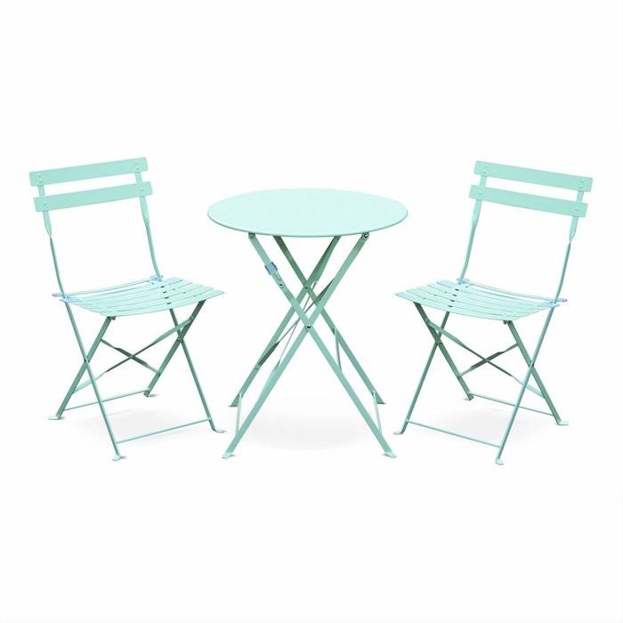 Salon de jardin bistrot pliable emilia rond vert d\'eau, table ...