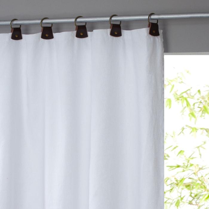 afbeelding Gordijn in gewassen linnen, lussen in leer, Private AM.PM.