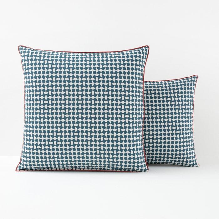 Green Tie Print Cotton Percale Pillowcase  La Redoute Interieurs image 0