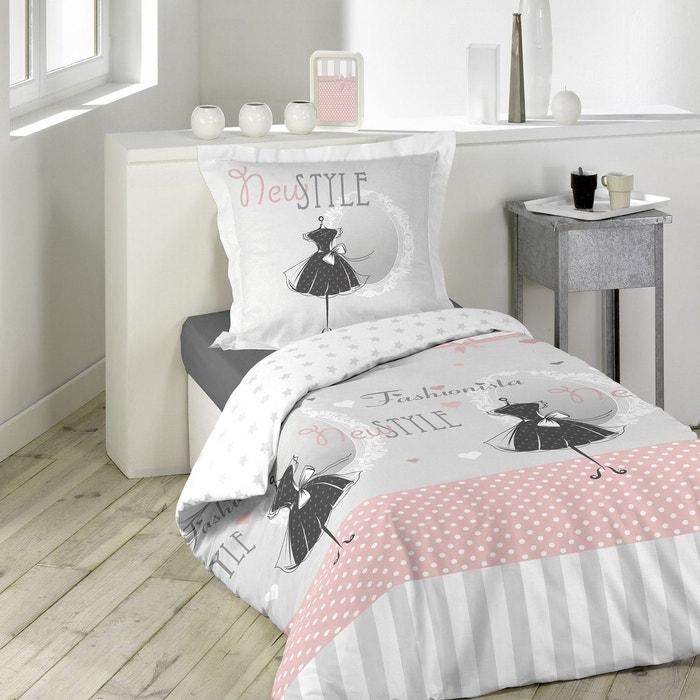 parure housse de couette imprime collection couture robe noire rose douceur d 39 int rieur la redoute. Black Bedroom Furniture Sets. Home Design Ideas