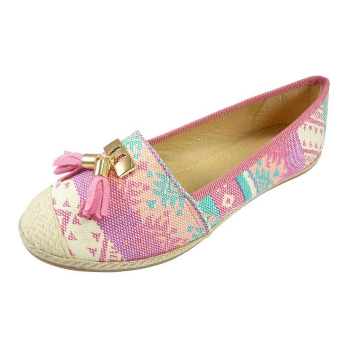 Ballerines espadrilles chaussures femme, à pompons