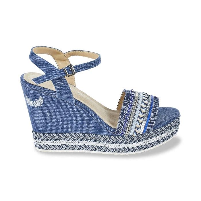 Sandales talon compensé tali bleu jean Kaporal