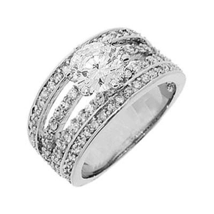 Bague fiançailles anneau solitaire 12 mm oxyde de zirconium argent 925  couleur unique So Chic Bijoux 0e46d3cd0246