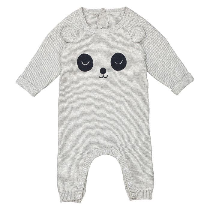 Tutina in maglia applicazione panda 0 mesi- 2 anni  La Redoute Collections image 0