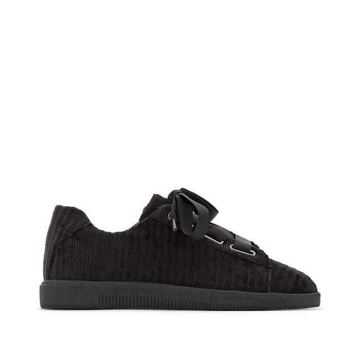 Sneakers in stevige stof, sleehak, lintveters  La Redoute Collections image 0