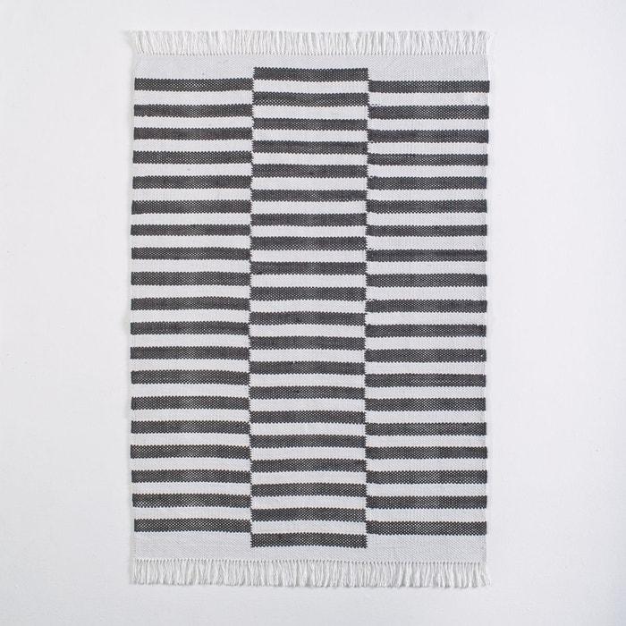 tapis coton fait main kimi ray noir blanc la redoute. Black Bedroom Furniture Sets. Home Design Ideas